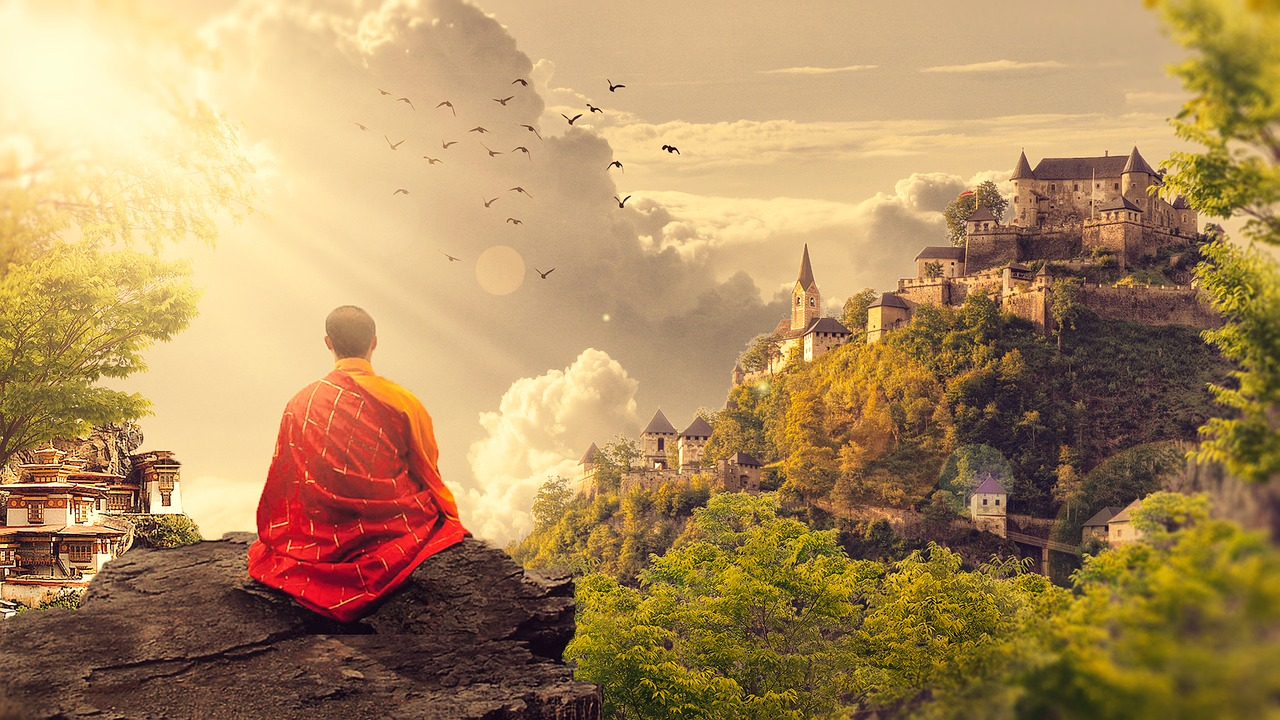 僧侶と風景